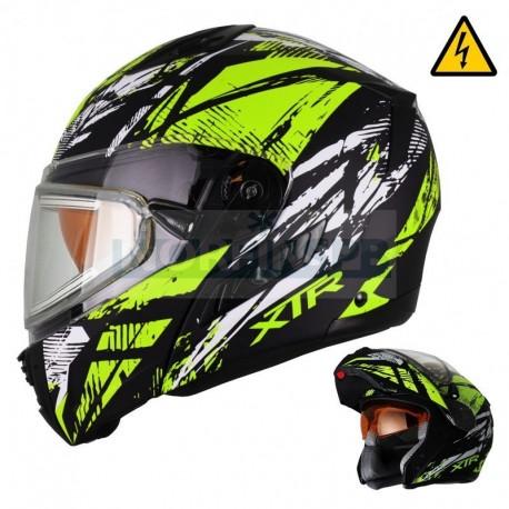 Снегоходный шлем XTR MODE1 Tornado флуо. желтый  с электро стеклом