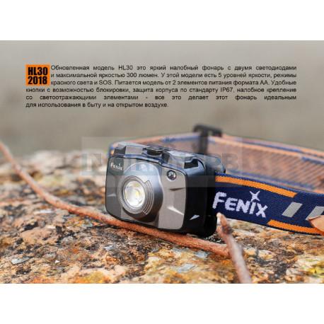 Фонарь Fenix HL30 2018, серый