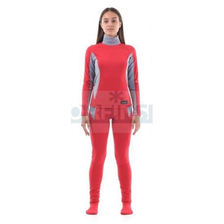 Термобелье Dragonfly зимнее с высоким воротом женское Pink-Grey
