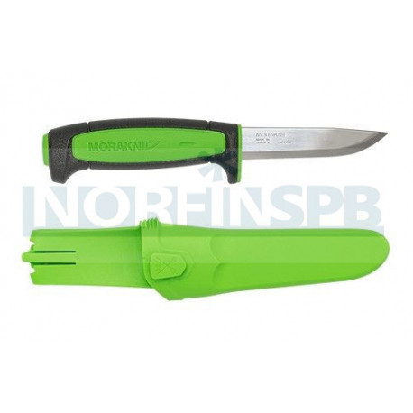 Нож Morakniv Basic 511 углеродистая сталь, пласт. ручка (черная) зел. вставка