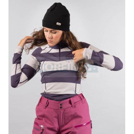 Кофта Bergans Fjellrapp женская, с воротником (PurpleVelvet/SilverGrey Striped)