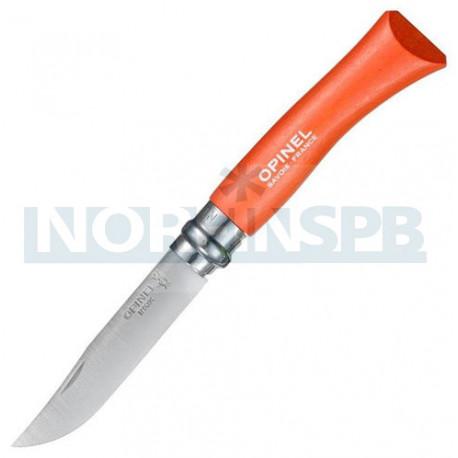 Нож Opinel №7, нержавеющая сталь, оранжевый