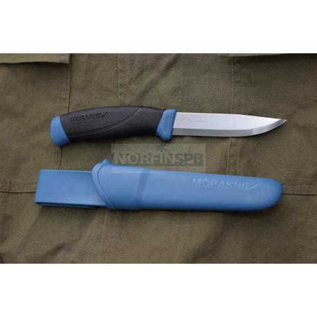 Нож Morakniv Companion Navy Blue, нержавеющая сталь, прорезиненная рукоять с синими накладкам