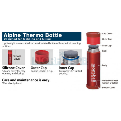 MontBell термос ALPINE THERMO BOTTLE 0.9L (380 гр, stainless)