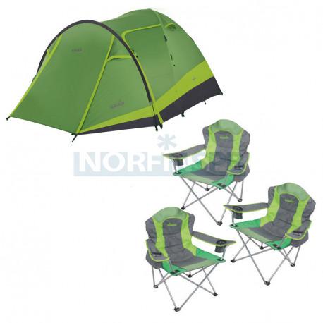Комплект NORFIN: палатка 4-мест. RUDD 3+1 NF + 3 складных кресла RAUMA