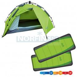 Комплект NORFIN: палатка автомат. 2-мест. ZOPE 2 NF + 2 спальных мешка-одеяла