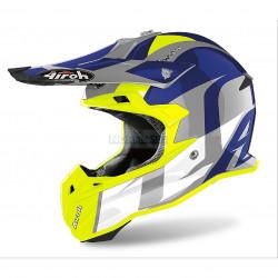 Шлем кроссовый Terminator Open Vision SHOT (Airoh, TOVS) (Стекловолокно, глянец, Жёлтый/Синий)