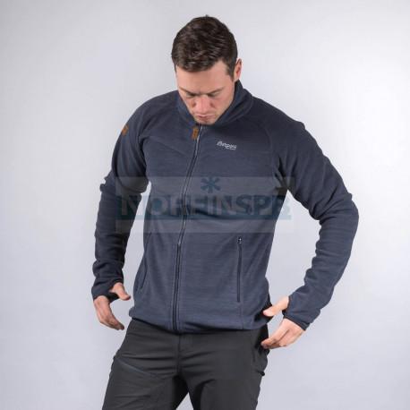 Флисовая куртка BERGANS Hareid Fleece Jacket Nohood, Dark Navy Melange