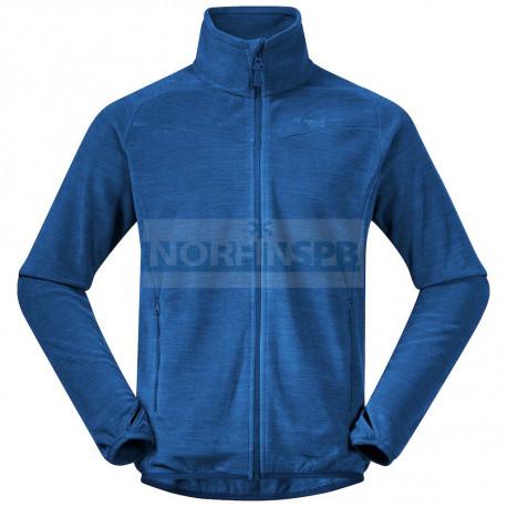 Флисовая куртка BERGANS Hareid Fleece Jacket Nohood, Dark Riviera Blue Melange