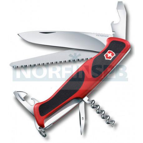 Нож Victorinox RangerGrip 55, 130 мм, 12 функций, красный/черный