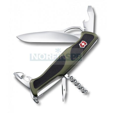 Нож Victorinox RangerGrip 61 (0.9553.MC4), 130мм, зеленый/черный