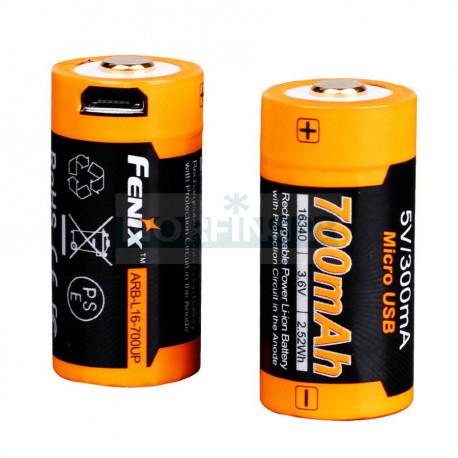 Аккумулятор 16340 Fenix 700 UP mAh Li-ion разъемом для USB