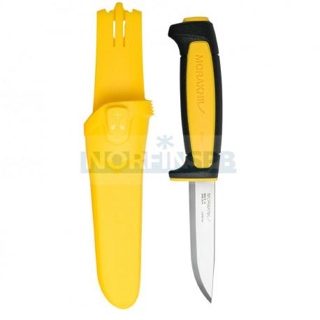 Нож Morakniv Basic 511 углеродистая сталь, пласт. ручка (черная) жел. вставка