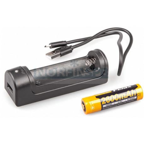 Набор для зарядки Fenix (аккумулятор 1*18650, зарядка, USB кабель)