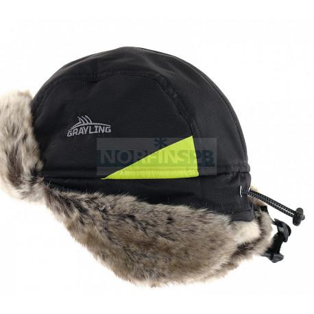 Шапка-ушанка NOVATEX Nelma (кошачий глаз, черный-лайм) GRAYLING