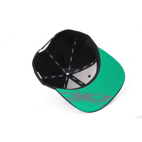 Бейсболка Dragonfly Modern Black-Green. Motor Sport (Прямой козырек) (бр)