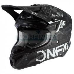 Шлем кроссовый O'NEAL 5Series HR, термопластик ABS, мат., с выкидными щеками, белый/черный
