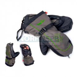 Варежки Norfin Comfort Zip Green, серый/черный