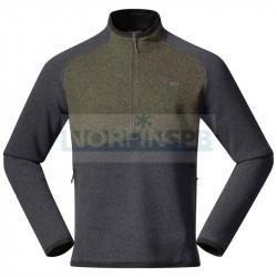 Куртка мужская флисовая Bergans Kamphaug Knitted Half Zip, Green Mud/Chalk Sand