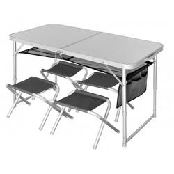 Стол складной Norfin RUNN NF алюминиевый 120x60 +4 стула