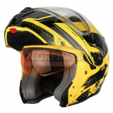 Снегоходный шлем XTR, модуляр с электростеклом MODE1 желтый