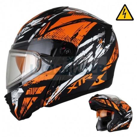 Снегоходный шлем XTR MODE1 Tornado оранжевый с электро стеклом