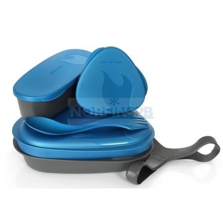 Контейнер для еды с набором посуды Light My Fire LunchKit, голубой металлик