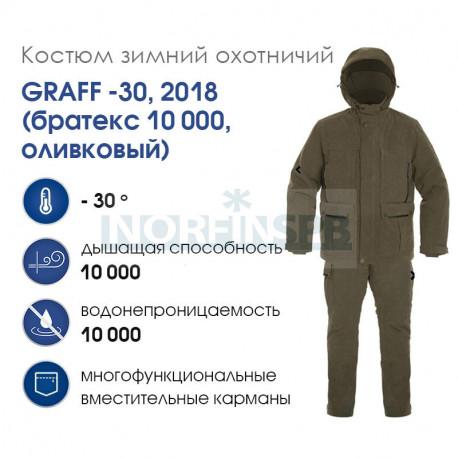 Костюм зимний охотничий GRAFF -30, 2018 (братекс 10 000, оливковый, -30)