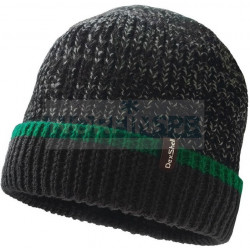 Шапка водонепроницаемая Dexshell Cuffed Beanie, черная с зеленой полоской